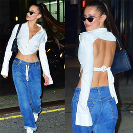 Wholesale blouse cut out sleeves for sale – plus size autumn fall women white shirt crop top button cardigan long sleeve open back hollow out cut out blouse backless tie streetwear T200812
