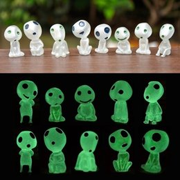 10 Pcs Princess Mononoke Luminous Figure Kodama Glow In Dark Figurines Elf Tree Dolls Model Kids Toys Micro Landscape Decoration on Sale