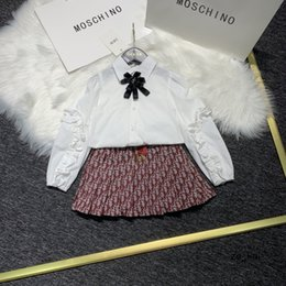 beautiful girls short skirts UK - Children Clothing Blouses Beautiful Girl College Wind Girl Short Skirt Two Piece Suit