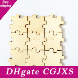 unfinished wood crafts UK - Unfinished Laser Cut Wood Puzzle Pieces Blank Single Endless Wooden Puzzle Kids Jigsaw Puzzle Guest Book Arts And Crafts