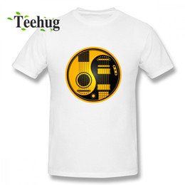 guitar black yellow UK - Anime Yellow And Black Acoustic Electric Guitars Yin Yang T Shirt For Boy New Arrival Unique For Boy Round Neck Clothes