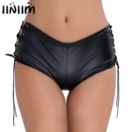 wholesale dance poles Australia - iiniim Women Femme Briefs Panties Patent Leather Lace Up Hollow Out Side Underwear Evening Party Sexy Clubwear Pole Dance Shorts