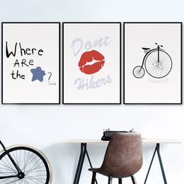 Wholesale star quotes for sale – custom Gohipang Cartoon Red Lips Bike Star Quotes Wall Art Canvas Painting Nordic Posters And Prints Wall Pictures For Baby Girl Kids