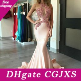 beads see through dresses UK - Mermaid Prom Dresses Pink Applique Beads Sexy See Through Evening Gowns Floor Satin Length Formal Party Cocktail Dresses Custom Made
