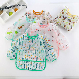 baby pocket bibs 2020 - Art Cartoon 1 6Y Cloths Toddler Cute Smock Burp Waterproof Kids Baby Feeding Pocket Bib Sleeve Dinosaur Apron Long FYVrN