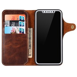 magnetic iphone case genuine leather NZ - Genuine Leather Flip Wallet Case For iPhone X XS Max XR 10 Luxury Phone Cover Retro Vintage Card Holder Strap Magnetic Cases