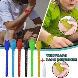 Hand Sanitizer Silicone Refillable Wristband Liquid Soap Hand Sanitizer Bracelet Dispenser Wearable Sanitizering Dispenser Gel Holder RA3509 on Sale