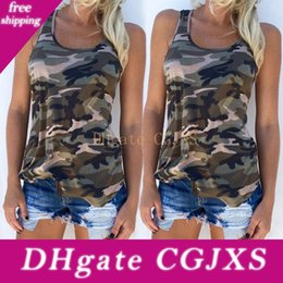 women velvet clothes NZ - New Fashion Summer Women Casual Vest Sleeveless Tops Camo Shirt Casual Clothes Plus Size S -5xl