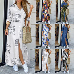Wholesale autumn maxi dresses for women Women Button Down Long Shirt Dress Chain Print Lapel Neck Party Dress Casual Long Sleeve Oversized