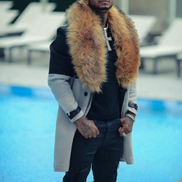 Wholesale plus size red wool coat resale online - Winter Wool Coat Men Overcoat Faux Fur Collar Warmness XXL Plus Size Men s Clothes Woolen Coats Gray Patchwork Fashion Casual