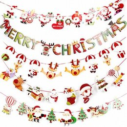 cartoon bunting NZ - Christmas Paper Flag Haning Christmas Decorations Cartoon Flag Bunting Party Layout Ornaments Ornaments Big Outdoor Christmas Decorati HpIo#