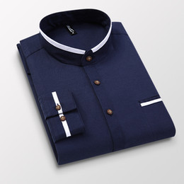 Wholesale blue oxford casual shirt men resale online - Men Shirt Long Sleeve Stand Oxford Business Dress Casual Shirts Slim Fit Brand Weeding Shirt White Blue Man Shirt XL DS414