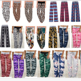 Wholesale flare leg yoga resale online – Women Wide Leg Trousers Drawstring Elastic Pants Sunflowers Camo Leopard Floral Plaid Flare Pants Yoga Loose Bloomers Home Clothing E82001