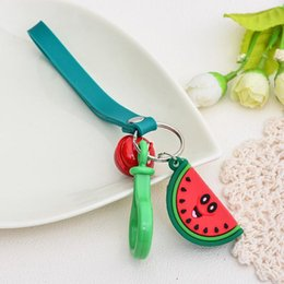 Discount 3d keychains Strawberry Gift Fruits Chain Watermelon Rings Key Avocado Keyring Cute Fashion Toy 3d Keychains Party Bag 4p Hot Pineapp