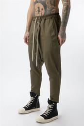 Wholesale cotton capris elastic waist resale online – Mens Pants Fashion Natural Color Loose Cross Pants Casual Elastic Waist Capris Pants Men s Clothing
