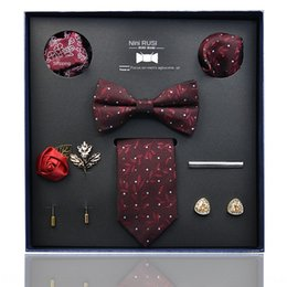 printed large gift boxes UK - Vm2Pc Tie men's business formal wear large polyester 8-piece set gift box Tie men's business formal wear large polyester 8-piece jacquard Ja