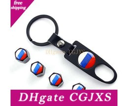valve stems Australia - Car Accessories Car Wheel Tire Valve Caps &Logo Keychain Dust Stems Air Caps Cover Russia Flag For Volkswagen Polo B5 B6 Golf 4 5 6 Jetta