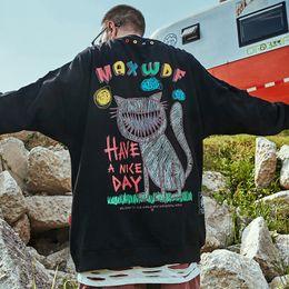 Wholesale sweat shirt online – oversize Hip Hop Streetwear Pullover Mens Print Sweatshirt Cotton Casual Autumn HipHop Loose Sweat Shirt Oversize