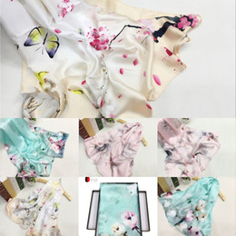 chinese towels UK - KTHYG cmNew Silk Scarves Ksyoocur Towel Female Beach Chinese flowers style Four embroidery Seasons Shawls and Scarves Women Scarf Skyour Scar