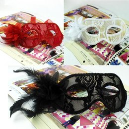 masquerade mask red black UK - Masquerade Flower White Mask With Costume Gras Black) Lace Colour(red For 3 Mask Mardi Masquerade Women E2008 ouTwC