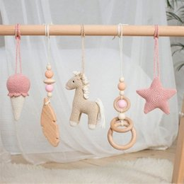 toddler bedding sets Australia - 3Pcs Set Nordic Cartoon Baby Wooden Ear Toy Pendant Gym Fitness Rack Ornament Toddler Infant Room Decorations 2ys0#