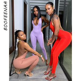 Wholesale women jumpsuits resale online – BOOFEENAA Backless Halter Deep V Neck Bodycon Jumpsuit Women Rompers Sexy Club Jumpsuits Sporty One Piece Outfits C87 BB20