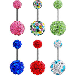 Wholesale red buttons resale online - Allergy Free Stainless steel Crystal ball belly ring Sexy Navel Bell Button Rings Piercing Navel Piercing Jewelry women body jewelry