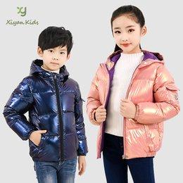 Wholesale unisex long winter jacket online – oversize Boys Girls Puffer Jacket Down Coats for Kids Children Hooded Bubble Jacket Metallic Light Weight Outwear Clothes Packable