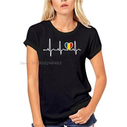 Wholesale romania online – design Crazy Romania Country Flag Heartbeat Pride T Shirt Women Natural Outfit Classic Homme Awesome Tshirts Hip Hop Tees Tshirt
