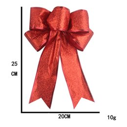 red bow christmas tree ornaments UK - 25cm Large Bow Tie Glitter Red Silver Gold Christmas Ribbon Bow Christmas Tree Bows Decoration Handmade Christmas Ornament