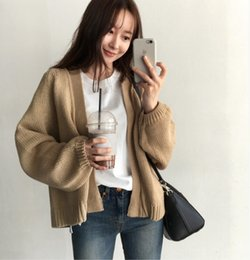 Wholesale black cardigan sweaters for women resale online - Women s cardigan Fall Winter New Korean women s loose lazy solid sweater color all match short sweater for women