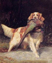 Wholesale dogs english for sale – custom Oil painting dog English Setter with Pheasant in landscape Wall Decor Oil Painting On Canvas Wall Art