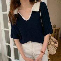 Wholesale plain slim fit t shirt online – design Simple slim fit solid color lapel long Top t shirt sweater sleeve Korean T shirt plain elegant color matching sweater top