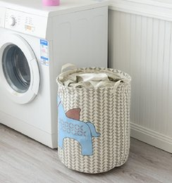 dirty clothing Australia - Dirty Clothes Storage Baskets Foldable Storage Bag Basket Bin Box Toy Clothes Round Cotton Linen Draw String Basket Box