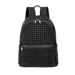 leather wash bag women Australia - Factory wholesale Fashion Female Women Backpacks Rivet Black Soft Washed Leather Bag Schoolbags Girls Punk Bags Travel Zipper