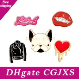 Wholesale dog collar shirts for sale – custom Red Lip Coat Dog Head Coat Love Brooch Children Jewelry Gift Badge Hard Enamel Pin Collection Shirt Collar Decor Bag Denim Hat Accessory