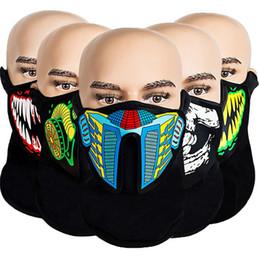 Опт LED Light Up Face Mask Voice Activated Маски Sound Control Face Мигающие Маски Маска для лица Череп газа Halloween Party Revel Косплей 2020 E81201