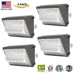 Опт Наружные светодиодные настенные светильники 120 Вт сумерки для рассвета коммерчески промышленного Wallpack крепеж освещения дневных светильников 5000K AC90-277V IP65 DLC ETL перечислены