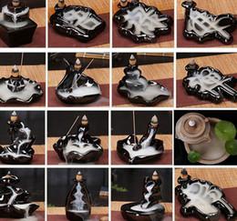 Ingrosso Ceramica Holder Glaze Cascata riflusso del bruciatore di incenso Censer Coni decorazione della casa 24 Stile di incenso Coni Burner Stick KKA8036