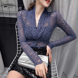 microfiber shirts UK - 2020 Spring and Autumn Long Sleeve Top Female Vintage New Tight Hollow Lace Shirts Sexy Cross V-neck Lace Bottoming Shirt 10634