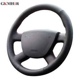 steering covers Canada - Black Artificial Leather Car Steering Wheel Cover for Focus 2 2005-2020 Special hand-stitched Steering Covers