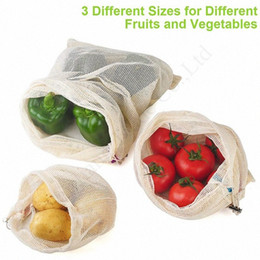 wholesale reusable drawstring bags UK - 3pcs lot Fruit Vegetable Bags Totes Reusable Cotton Mesh Shopping Supermarket Storage Bag Eco-friendly Home Drawstring Buggy Bags 2020 zamD#