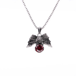 crystal eagle 2020 - Eagle Necklace Men Jewelry Trendy High quality Animal Hawk Wing Red crystal Necklace For Women Punk Biker Men Pendant ch