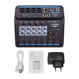 Ingrosso Freeshipping Professional Audio Mixer 4 canali Bluetooth Sound Mixing Console per Karaoke T3LB