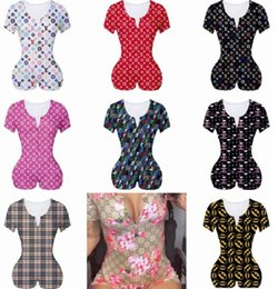 Wholesale women plus size jumpsuit resale online – Women Jumpsuits Nightwear Playsuit Workout Button Skinny Hot Print Short Sleeve V neck Short Onesies Women Plus Size Rompers D1621