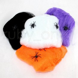 Discount halloween decorations spider web Halloween Spider Web Stretchy Cobweb With Spider For Halloween Party KTV Props Bar Haunted House Party Decoration RRA342