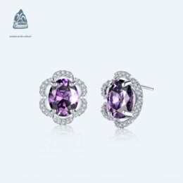 pure silver crosses NZ - odbW5 S925 pure silver Crystal Earrings and amethyst high quality jewelry S925 pure silver Crystal Earrings and amethyst high quality jewelr