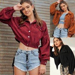 Wholesale black jacket puff sleeves resale online – Women Autumn Winter Tops Vintage Buttons Corduroy Jacket Pocket Long Sleeve Loose Tops Cropped Coat Outwear Elegant Streetwear