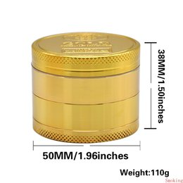 spice grinders Australia - GOLD Grinder Coin Pattern Zinc Alloy Metal Herb 4 Parts Layers 50MM Cigarette Tobacco Spice Crusher Smoking Miller DHL