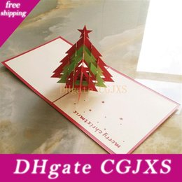 free xmas cards NZ - Eco -Friendly As Show Pop Up 3d Christmas Greeting Card Xmas Festival Tree Laser Cut Party Invitation Cards Free Shipping